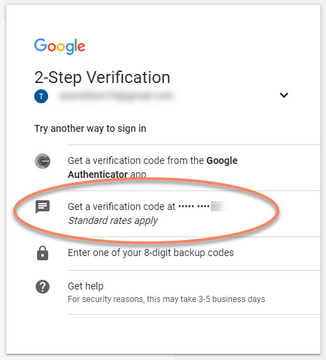 google recovery codes