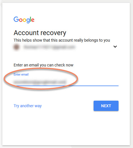 Google Account Recovery - type email you can check now