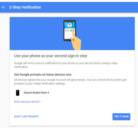 Google two-step verification prompts