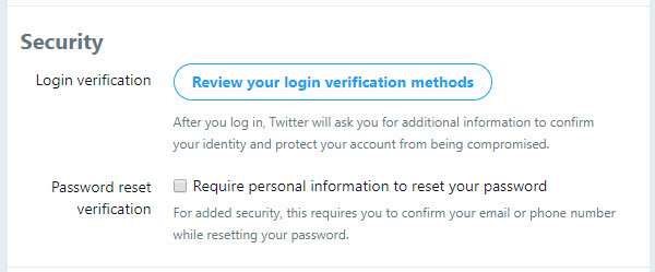 Twitter review your settings