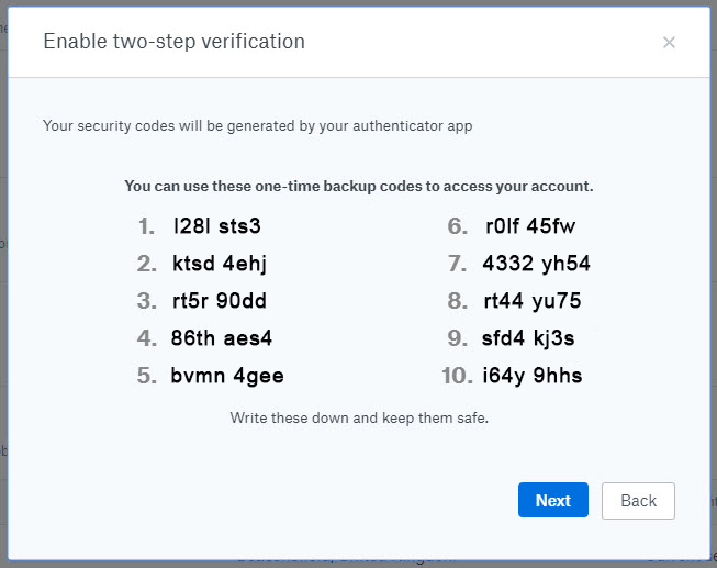 Dropbox security two-step verification - backup codes