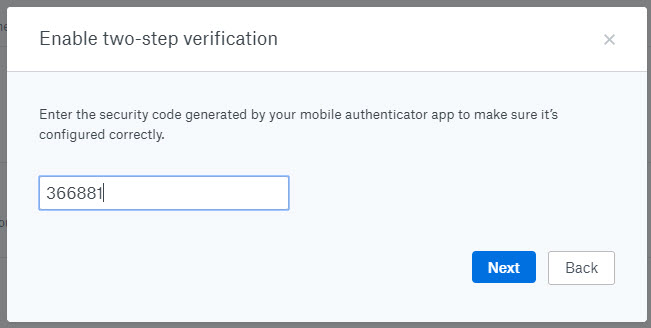 Dropbox security two-step verification - confirm security code