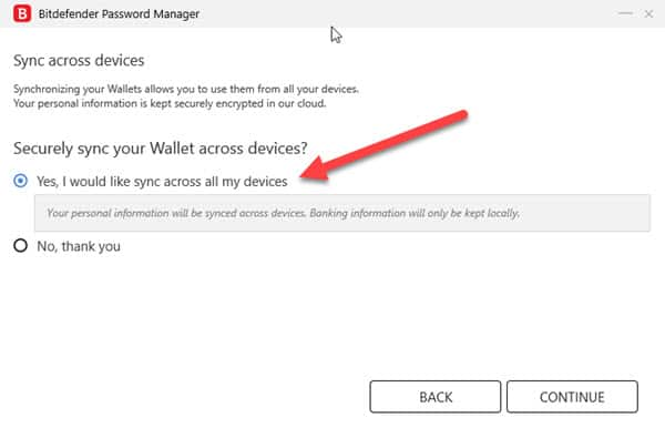 Sync across devices options