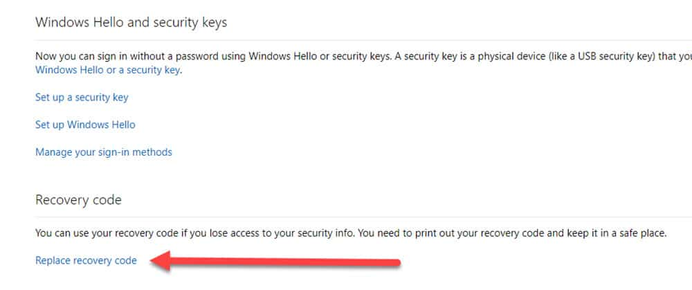 Microsoft Account Replace Recovery Code