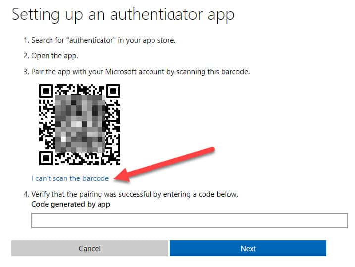 Microsoft Account - setting up an Authenticator app barcode