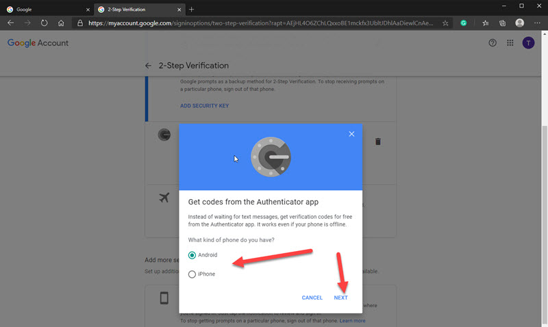 Image showing how to set up Authenticator app in Google account.
