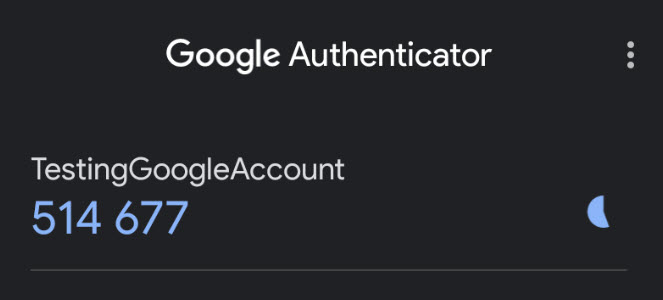 Google Authenticator application with generated TOTP code.