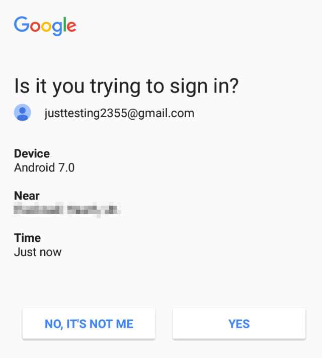 Google On-Device prompt notification to confirm login attempt.