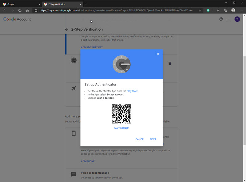Google account Authenticator set up with QR code ready to be scanned.