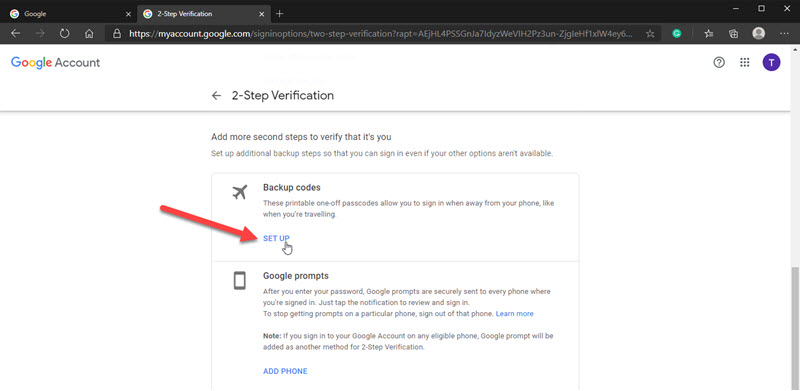 Image showing how to Set Up Google account Backup Codes.