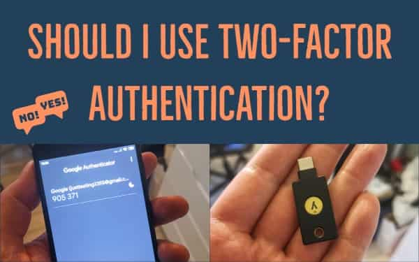 Featured image with text, picture of Google Authenticator app and a Yubikey key