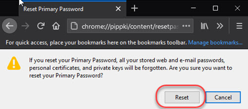 Image showing Firefox Primary Password reset warning with confirmation button.