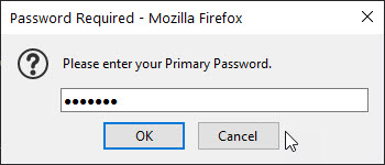 Image showing primary password request window