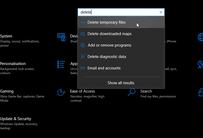 Deleting Temporary files in Windows 10