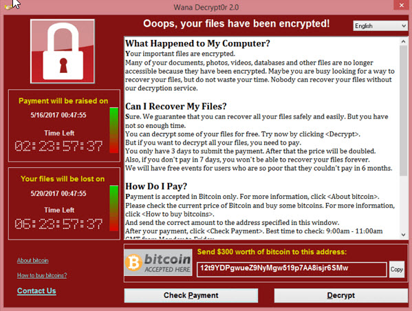 Example of a notification window on the machine infected with WannaCry Ransomware.