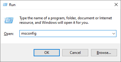 Image showing Run command in Windows 10 to open msconfig.