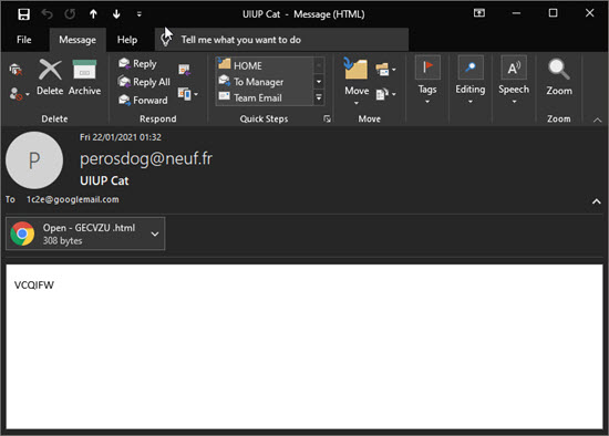 Image showing an example of a spam or malicious email.