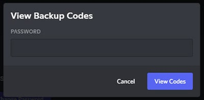 Confirming Discord password to view the Backup Codes.