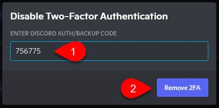 Confirmation of 2FA removal on Discord account.