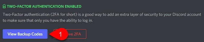 View Discord Backup Codes button.