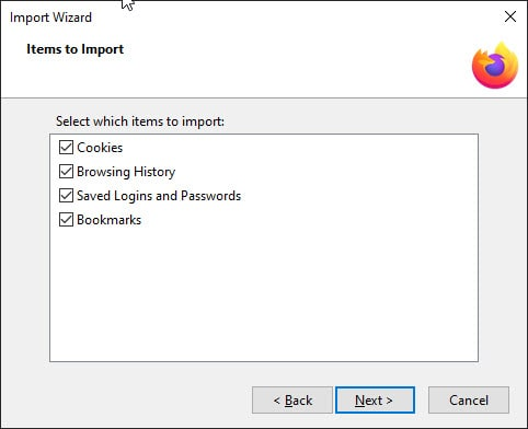 Dialog box for Firefox import wizard.