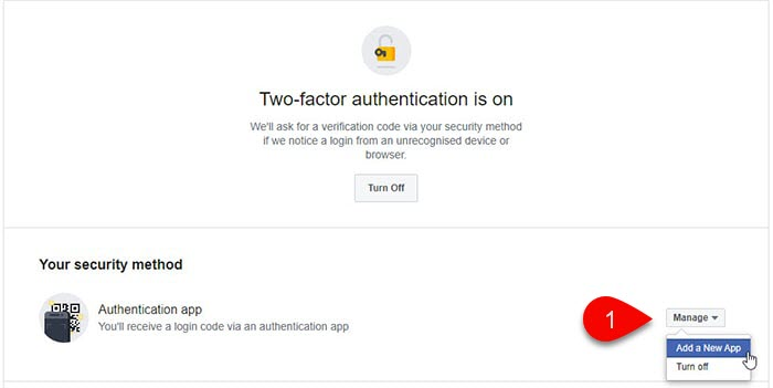 Facebook Two-Factor Authentication configuration window.