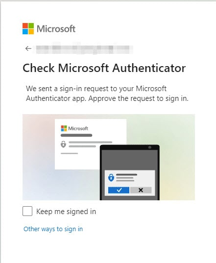 Check Microsoft Authenticator for Passwordless sign in request
