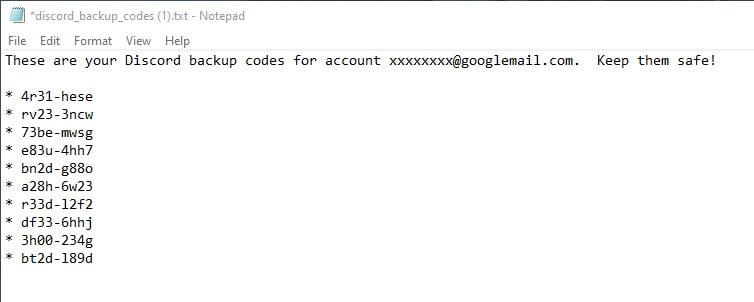 Text file with Discord Backup Codes.