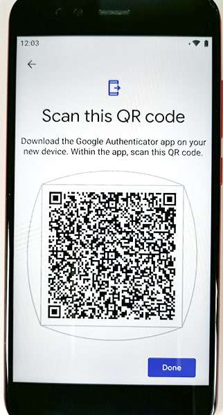 New QR code generated using Google Authenticator Transfer Accounts option.